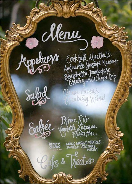 espejo original con menu de boda