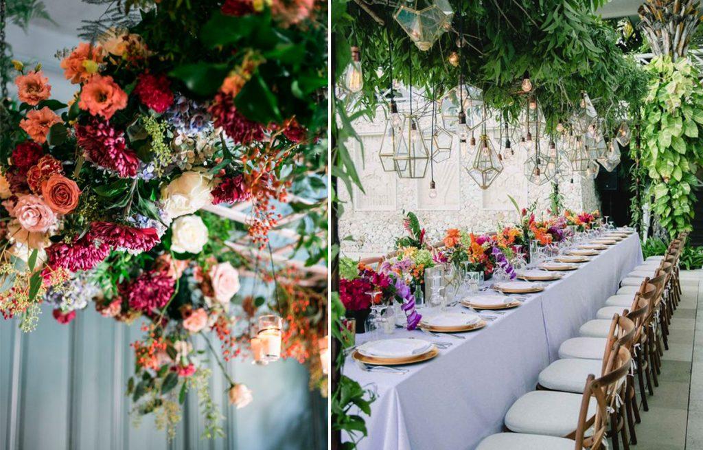 originales flores colgantes para una boda