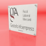 Placa de Empresa de metacrilato rectangular