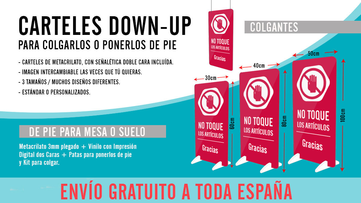 Cartel Down-up de pie o colgante