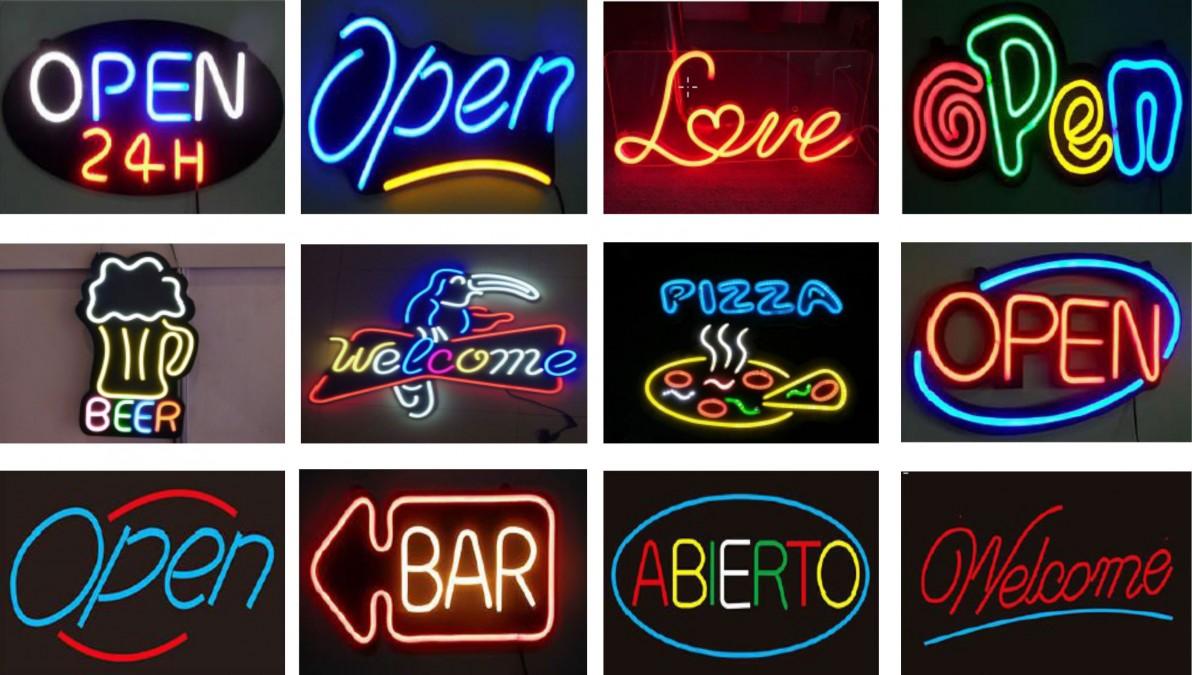 ejemplos de carteles de neon