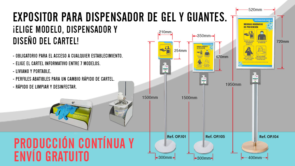 cartel, guantes y dispensador
